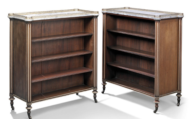 A PAIR OF LOUIS XVI-STYLE MAHOGANY DWARF BOOKCASES, LATE 19TH/EARLY 20TH CENTURY