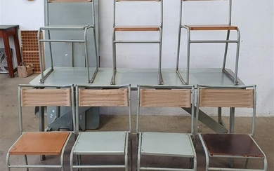 A PAIR OF TRESTLE TABLES AND SEVEN STACKABLE CHAIRS