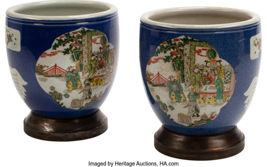 A Pair of Chinese Porcelain Planters with Patinated Bronze Bases