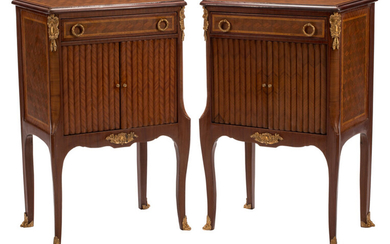 A Pair of French Transitional-Style Gilt Bronze Mounted Parquetry Inlaid Nightstands