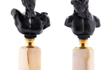 A Pair of German Bronze and Onyx Busts
