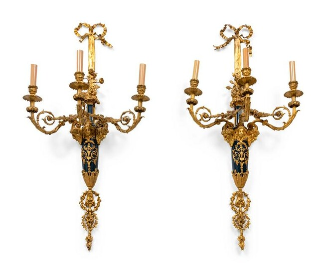 A Pair of Louis XVI Style Part Ebonized and Gilt-Bronze