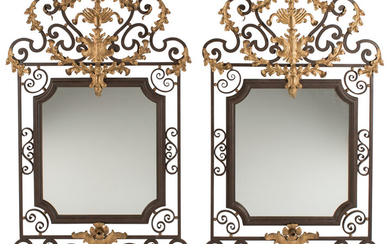 A Pair of Spanish Partial Gilt and Wrought Iron Mirrors