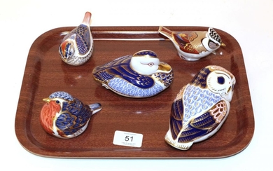 A Royal Crown Derby Imari palette Owl paperweight; a Duck;...