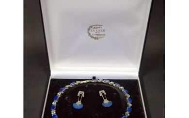 A Sterling Silver, Lapis Lazuli and Blue Stone Mounted Neckl...