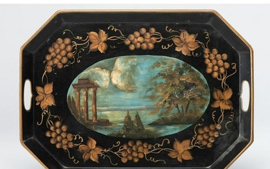 A Toleware Tray with Painted Landscape