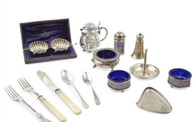A collection of flatware and miscellaneous silver