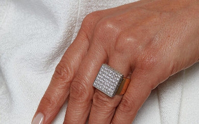 A diamond and 18K yellow and white gold ring, France....