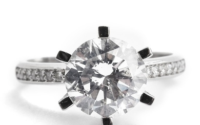 A diamond ring set with a brilliant-cut diamond weighing app. 2.50 ct., mounted in 18k white gold. Size 54.