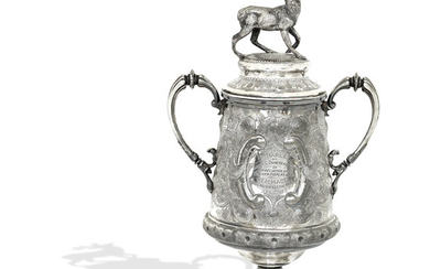 A large Victorian silver plated trophy cup and cover