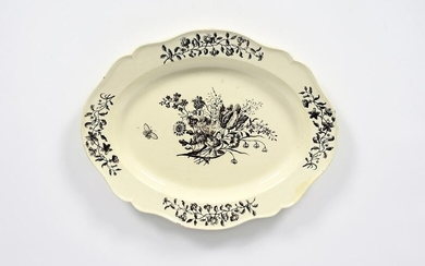 A large creamware charger late 18th century, printed...
