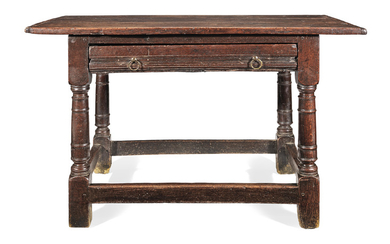 A mid-17th century joined oak side table, English, circa 1650