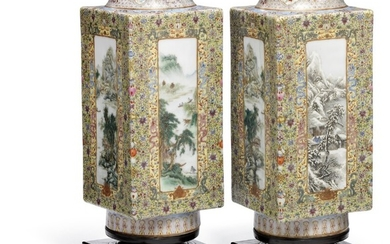 A pair of Chinese famille rose square porcelain Cong vases. Marked Made during the Qianlong reign. 20th century. H. 33 cm,.