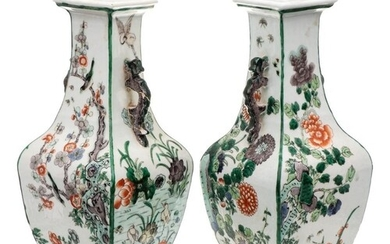 A pair of Chinese famille verte vases: of square baluster se...