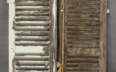A pair of late 19th/early 20th century white painted oak French louvre shutter doors, each door 155c