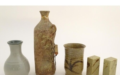 A quantity of assorted studio pottery wares, to include vase...
