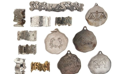 A quantity of silver rings and pendants, the...