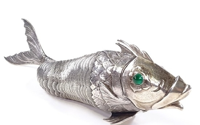 A rare large Spanish silver articulated fish box, engine tur...