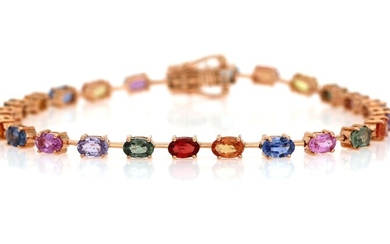 A sapphire bracelet set with numerous oval-cut multi-coloured sapphires weighing a total of app. 8.30...