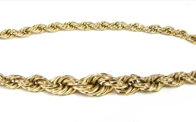 A section of gold hollow graduated rope link chain