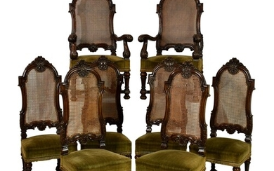 A set of eight Carolean style Victorian dining chairs, in ca...
