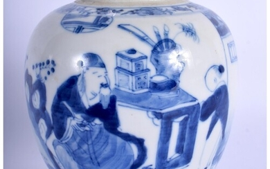 AN 18TH/19TH CENTURY CHINESE BLUE AND WHITE PORCELAIN GINGER...