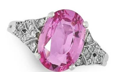 AN UNHEATED PINK SAPPHIRE AND DIAMOND RING in white