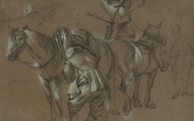 ATTRIBUTED TO ESAIAS VAN DE VELDE (DUTCH 1587 - 1630) STUDY OF HORSEMEN