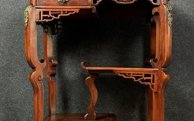 According to Gabriel Viardot: superb ceremonial table in ironwood and marquetry - Wood - Mid 19th century