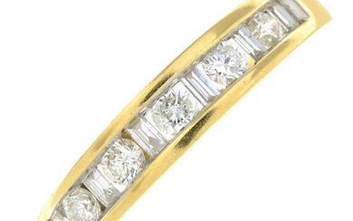 An 18ct gold brilliant and baguette-cut diamond half eternity ring.