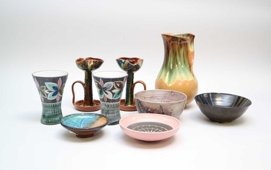 An assorted collection of studio pottery and glassware mid-late...