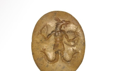 Ancient Egyptian Stone Gnostic Intaglio, Anubis and writing