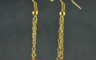 Ancient Roman Glass Earrings with red glass beads - (1)