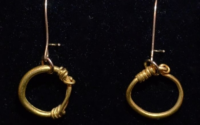 Ancient Roman Gold A Greco-Roman pair of gold earrings