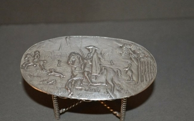 Antique 19th Century Silver Miniature Table ,Hunting