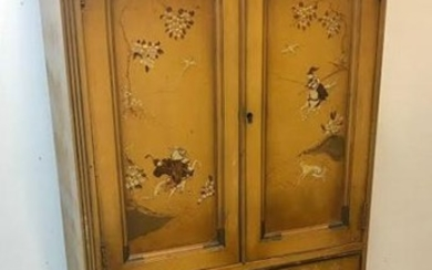 Antique Hand Painted Chinoiserie Motif Cabinet