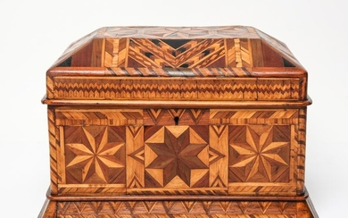 Antique Parquetry Inlaid Hinged Lid Box