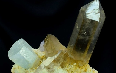 Aquamarine Crystal with Smoky Quartz Crystals on Albite