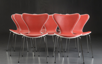 Arne Jacobsen. A set of eight 'Series 7' dining chairs / stacking chairs, model 3107, red label (8)