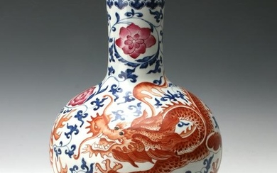 BLUE & WHITE ORANGE DRAGON VASE