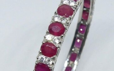 BRACELET in silver with ruby roots and white stones (one stone missing)