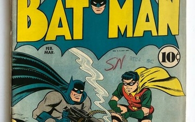 Batman #15 -Very Early Cat Woman Appearance In New Costume -Rare Very Early Golden Age Batman Comic!! - Mid Grade!! - Softcover - First edition - (1943)