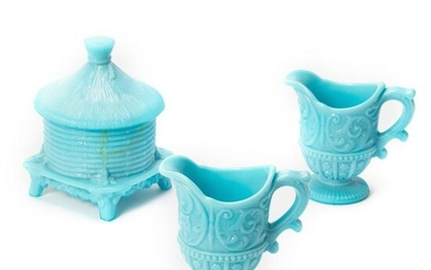 Blue Milk Glass Creamers and Covered Honey Pot LOT