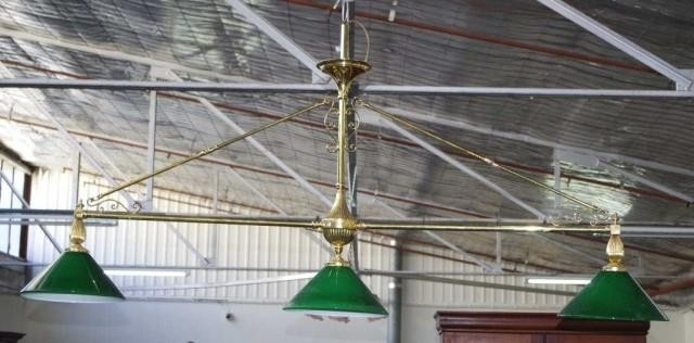 Brass 2 branch billiard light with 3 glass shades, one diago...