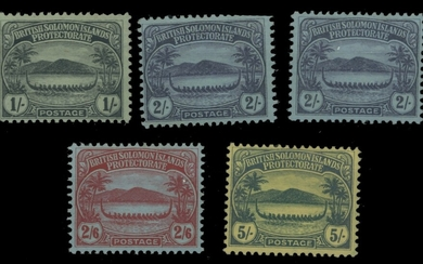 British Solomon Islands A mint collection on stock leaves with 1908-11 Small Canoe...