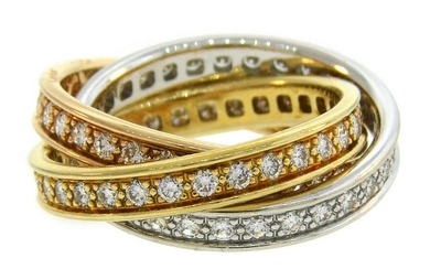 CARTIER Diamond Gold Trinity Band RING Size US 5 French
