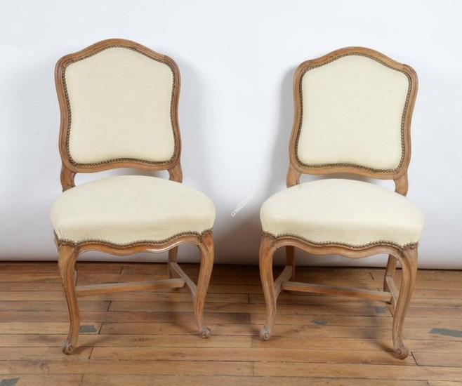 CHAIRS (pair of) in natural beech with moulded...