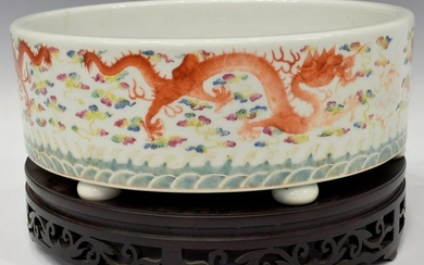 CHINESE FAMILLE ROSE PORCELAIN CACHEPOT WOOD STAND