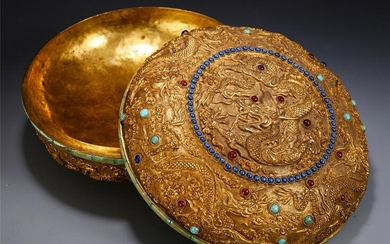 CHINESE GILT BRONZE CARVED DRAGON PATTERN LIDDED BOX