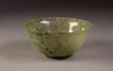CHINESE QING DYNASTY MOTTLED GREEN JADE BOWL with everted ri...